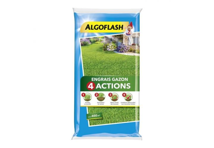 Engrais gazon 4 actions 16kg Algoflash