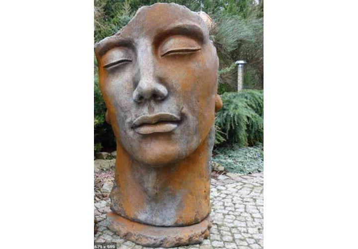Statue visage homme bronze H115cm