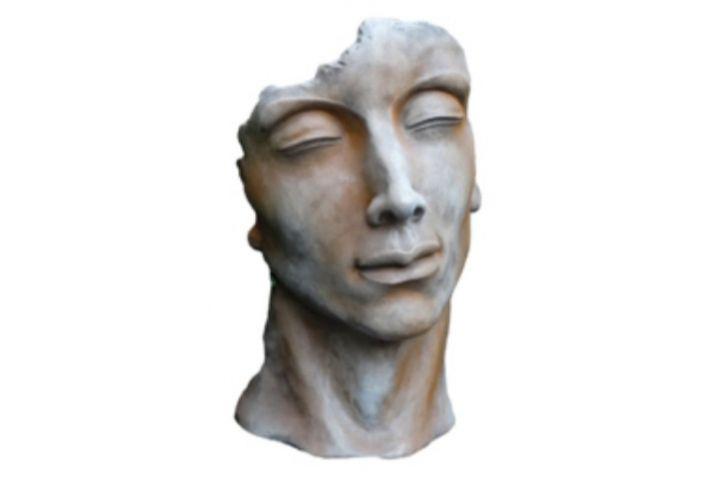Statue visage homme rouille H115cm