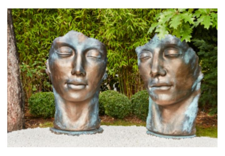 Statue visage femme bronze H115cm